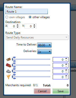 Marketplace Router : Create Route Dialog